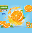 orange juice ad realistic fruits in juicy splash vector image vector image