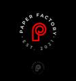 p monogram logo paper factory emblem vector image vector image