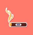 paper sticker on stylish background cuba cigar vector image