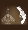 pistol and fighter vector image vector image