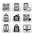 QR code on mobile or cell phone buttons set vector image