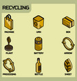 recycling color outline isometric icons vector image vector image