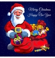 Santa Claus with two red bags of gifts vector image vector image