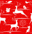 seamless christmas pattern - deers foxes birds vector image vector image