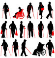 set ilhouette of disabled people on a white vector image vector image