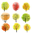 set of deciduous trees vector image