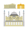set of monuments and buildings vector image
