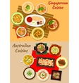 Singaporean and australian cuisine dishes icon vector image vector image