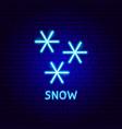 snow neon label vector image vector image