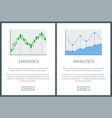 statistics and analysis two bright info posters vector image vector image