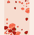 strawberries lips and hearts on a pink backgroun vector image