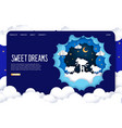sweet dreams website landing page design vector image vector image
