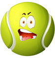 Tennis ball with silly face vector image vector image
