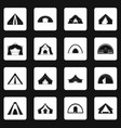 tent forms icons set squares vector image vector image