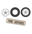 tire wheel service shop garage - flat vector image