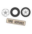 tire wheel service shop garage - flat vector image vector image