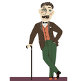 Vintage gentleman with cane vector image vector image