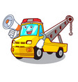 with megaphone cartoon tow truck isolated on rope vector image vector image