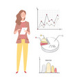 woman working on business project with infocharts vector image