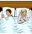 Young couple in bed offended pop art style vector image vector image