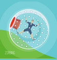 zorbing a man rolling down the vector image vector image