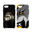 furious wolf sport logo concept smart phone vector image