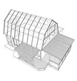 3d rendering of house wireframe structure vector image