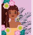 afro american woman artificial hair braiding vector image vector image