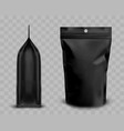 black foil pouch with zipper doypack for food vector image vector image