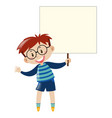 boy with glasses holding sign vector image vector image