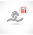 brain and cellphone icon vector image vector image