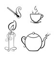 candle match teapot and a cup of tea vector image