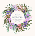 card with high detailed lavender wreath vector image
