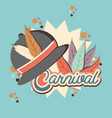 carnival feather hat accessory vector image vector image