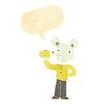 cartoon mouse holding cheese with speech bubble vector image vector image