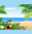 cartoon parrot with beach tropical plants vector image