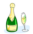 Champagne bottle glass vector image vector image