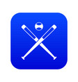 crossed baseball bats and ball icon digital blue vector image