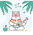 cute doodle white bear in summer shirt plays vector image vector image