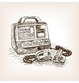 Defibrillator sketch style vector image