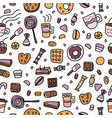 dessert set elements in doodle style vector image