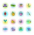Fishing icons set comics style vector image vector image
