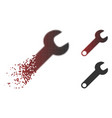 fragmented pixel halftone wrench icon vector image vector image