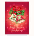 greeting card with a beautiful christmas bells vector image