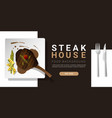 grilled beef tomahawk steak and spices background vector image vector image