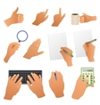 Hands in the office pointing gestures writing hand vector image vector image