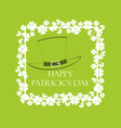 happy st patricks frame with clover and text vector image vector image