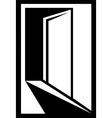 icon with open door silhouette vector image