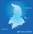 island of syros in greece map in colorful vector image vector image