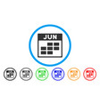 june calendar grid rounded icon vector image vector image
